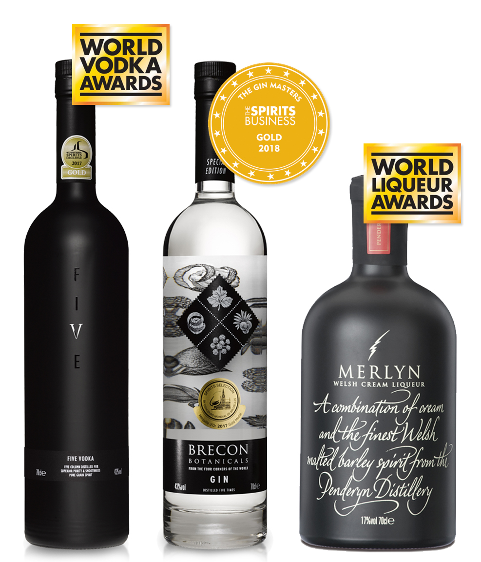 Brecon Botanicals Gin, FIVE Vodka, Merlyn Cream Liqueur