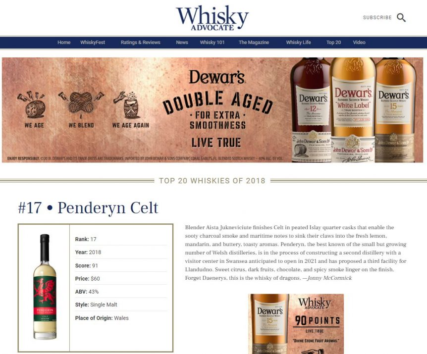 Whisky Advocate Top 20 Whiskies of 2018